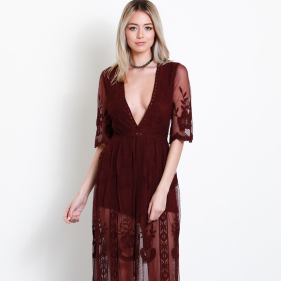 83066ae6785  Amelia  Lace Romper Maxi Dress